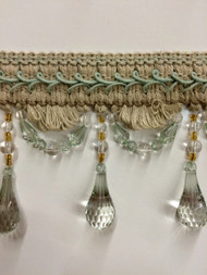 "4"" LINEN BEADED TASSEL FRINGE -46-L/6-39        NATURAL & AQUA"