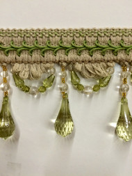 "4"" LINEN BEADED TASSEL FRINGE -46-L/6-14        NATURAL & LIGHT GREEN"