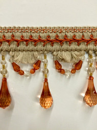"4"" BEADED TASSEL FRINGE -46-L/6-35     NATURAL & RUST"