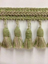 "3"" LINEN TASSEL FRINGE -53-L/6-14       DARK TAN & LIGHT GREEN"