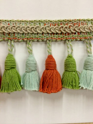 "3""  MULTI COLOR LINEN TASSEL FRINGE -53-L/6-39-49-14        DARK TAN,AQUA BLUE,AMBER & LIGHT GREEN"