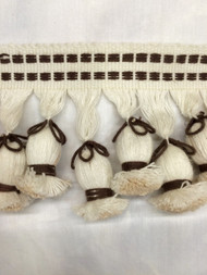 "4"" LINEN TASSEL FRINGE -4-L/2-8          WHITE & BROWN"