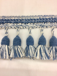 "3"" LINENTASSEL FRINGE -53-L/2-55        WHITE & COLONIAL BLUE"