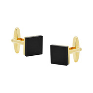Gold Polished Cufflinks with Black Glass