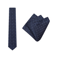 Tie + Pocket Square Set, Bloom, Navy