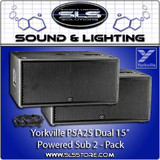 "Yorkville PSA2S Parasource 2 Pack Dual 15"" Powered Subwoofer With Cables"
