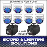 Chauvet DJ Slim par 56 8 Pack White + 2 Bags
