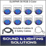 Chauvet DJ Slim Par 56 8 Pack White + Cables