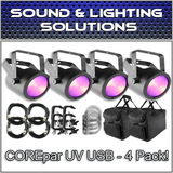 (4) Chauvet DJ COREpar UV USB Blacklight Ultravoilet LED + Extras