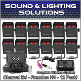 (12) Chauvet DJ Freedom H1 Wireless LED Wash Lights D-Fi Package w/Hub & Charging Cases