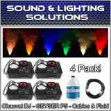 (4) Chauvet DJ GEYSER P5 Fog Machine Fogger w/LED Effects, Remote & Fluid Pkg