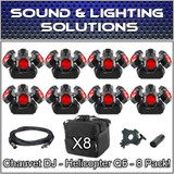 (8) Chauvet DJ Helicopter Q6 DMX Rotating Dance Floor FX Lights Package