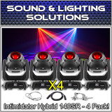 (4) Chauvet DJ Intimidator Hybrid 140SR Beam, Spot & Wash Moving Head Package