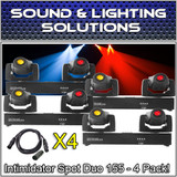 (4) Chauvet DJ Intimidator Spot Duo 155 Dual Compact LED Moving Head Package