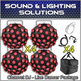 (4) Chauvet DJ Line Dancer Compact DMX LED DJ Club Party Effect Lighting Package