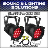 (2) Chauvet DJ Slimpar Pro QZ12 D-Fi USB RGBA Wash, DMX Par Can w/Zoom Package