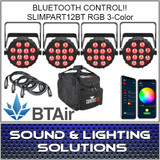 Chauvet DJ SlimPart12BT Four Unit Mobile Pack (RGB) Wash Light with built-in Bluetooth BTAir 4 Pack