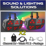 (2) Chauvet DJ Wash FX2 18 Quad-Color RGB+UV LED Effect Light Package