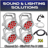 Chauvet DJ (4) SlimPar Pro H USB Slimpar Pro H Hex RGBAW+UV LED (White Housing)
