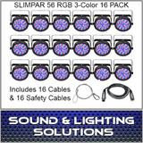 Chauvet DJ Slim Par 56 16 Pack + Cables