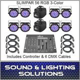 CHAUVET DJ SLIMPAR 56 8 Pack + Extras!