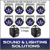 SlimPAR H6 USB Hex RGBAW+UV LED 8 Pack + 2 Bags