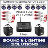 SlimPAR H6 USB Hex RGBAW+UV LED 8 Pack + Extras!