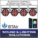 Chauvet DJ SlimPAR T12 BT (RGB) Wash Light with built-in Bluetooth (BTAir) 4 Pack