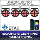 Chauvet DJ SlimPAR T12 BT (RGB) Wash Light with built-in Bluetooth (BTAir) 4 Pack