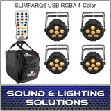 Chauvet DJ SlimPAR Q6 USB 4 PACK + EXTRAS