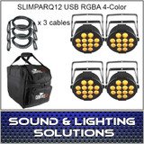 Chauvet DJ SlimPar Q12 USB RGBA 4 COLOR LED 4 PACK
