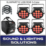Chauvet DJ SlimPAR T12 USB 4 Pack Mobile RGB 3 Color LED