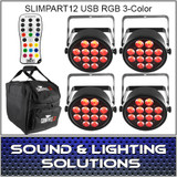 Chauvet DJ SlimPART12USB Four Pack Mobile IRC Control RGB 3 Color LED