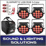Chauvet DJ SlimPART12USB Four Pack Dfi RGB 3 Color LED