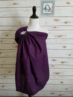 Small/Medium Linen ring sling - royal purple with black rings - dual pleated shoulders