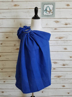 Ultramarine Linen (M) with slate rings and a gathered shoulder