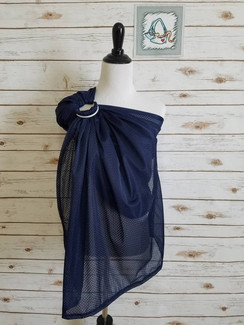 Navy (S/M) mesh water ring sling with silver rings and a gathered shoulder