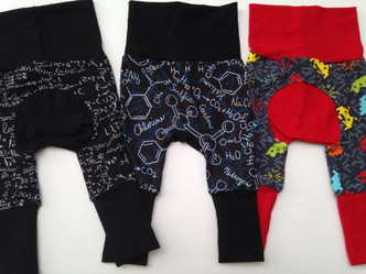 sizes 0-6 prints: Space invaders, black math, and blue/black molecules