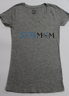 Geek Mom v-necks (gray)