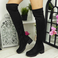 SAMIKA Black Over The Knee Boots