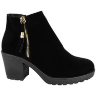 Janica Black Suede Chunky Ankle Boots