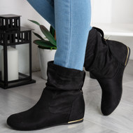 ADRIANA  Black Wedge Ankle Boots