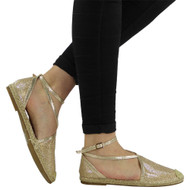 """ANASTASIA"" Gold Glitter Low Flat Heel Ankle Strap Sandals"