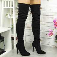 GUSSIE Black Over The Knee Boots