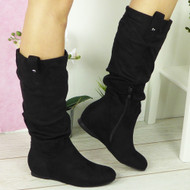 SALLY Black Suede Hidden Wedge Boots