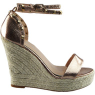 """IFE"" Champagne Ankle Strap Espadrilles Shoes"