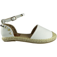 """TAL"" White Ankle Strap Espadrilles Sandals"