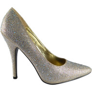 ''CARA'' Gold Patent High Stiletto Heel Shoes