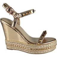 """ABIGAIL"" Rose Gold Studded Ankle Strap Wedge Sandals"