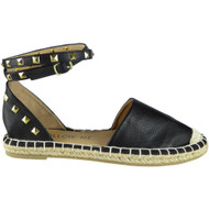"""LUCY"" Black Ankle Strap Studded Sandles"